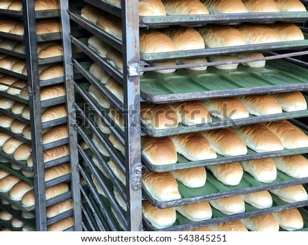 bread loaves on display in bakery, istanbul, turkey