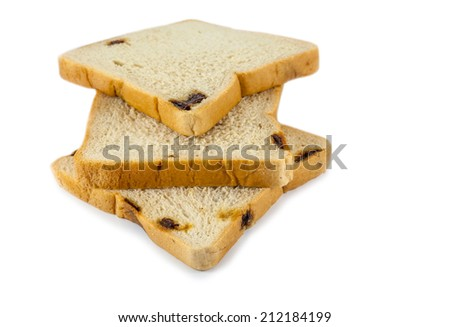 bread with raisin  on white background