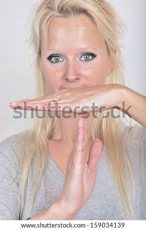 break time hand gesture - stock photo