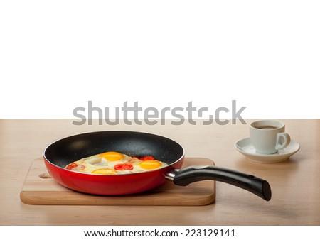 Breakfast - fried Eggs, coffee - stock photo
