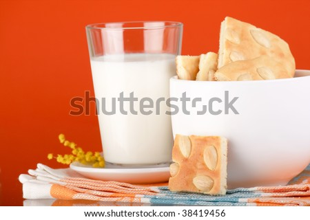 Breakfast of milk with cookies