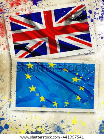 Brexit. Flags of the United Kingdom and the European Union to illustrate the exit of Great Britain from the EU - stock photo