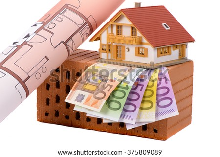 brick for house construction and Euro money