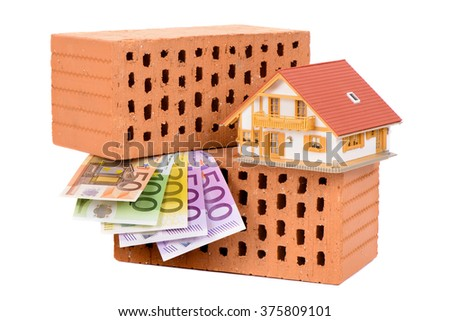 brick for house construction and Euro money with model house