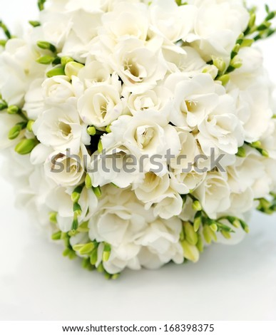 bridal and bridesmaid bouquet on white background - stock photo