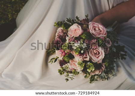 Bride Holding Her Boho Wedding Flower Bouquet Perfect Image For Style Magazines And Websites