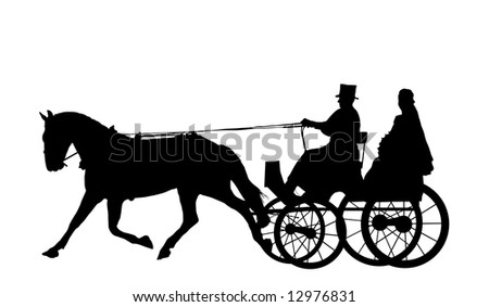 bride on horse and carriage - stock photo