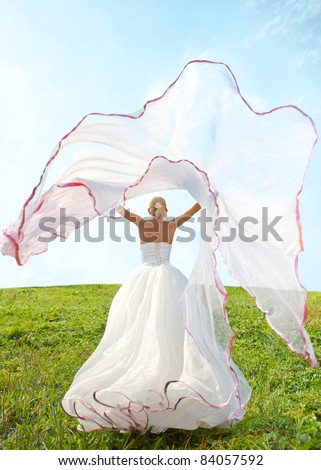 bride with long veil - stock photo