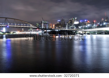 2 Bridges meet over the Brisbane River - stock photo