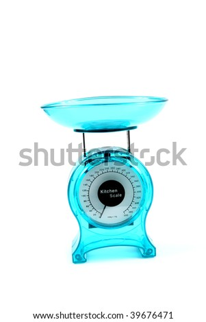 Bright blue kitchen scale isolated on white background - stock photo