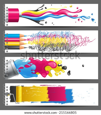 4 bright CMYK banners - stock photo