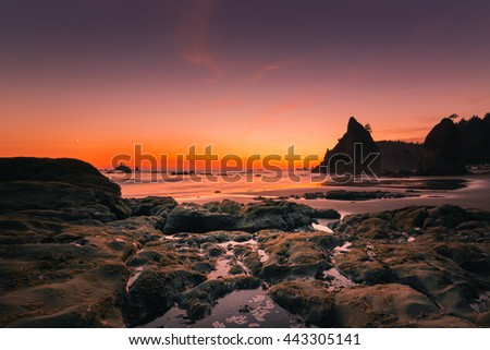 (Brighter version) Sunset at Rialto Beach in Olympic National Park, Washington State, USA. Olympic National Park is the western National Park of the US and is in the Olympic Peninsula. - stock photo