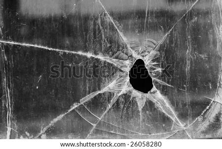 broken glass close up - stock photo
