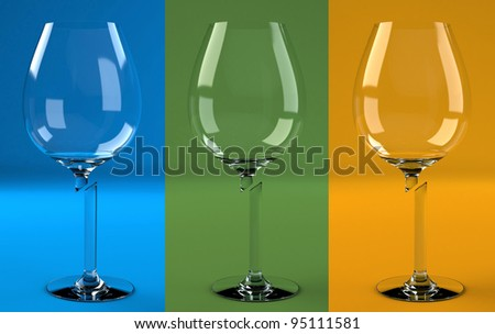 3 broken wine glasses on different backgrounds
