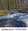 brook in a forest - spring thaw ice - stock photo