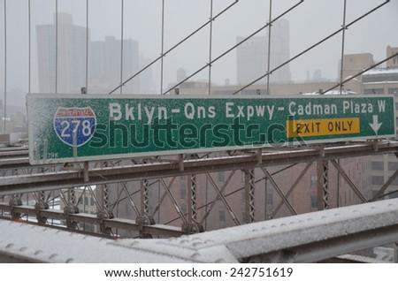 Brooklyn Bridge Sign in New York City, USA - stock photo