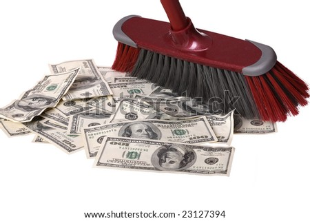Broom clean dollars on floor. Concept
