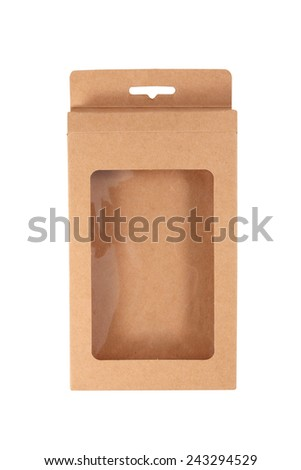 brown carton box isolated over white background - stock photo