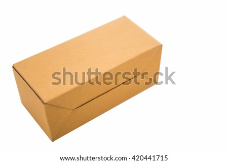 Brown carton box put on a white background