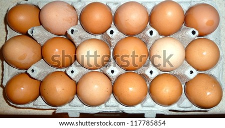 18 brown eggs
