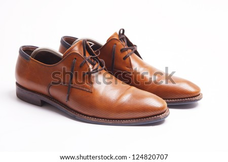 Brown Leather Mens Shoes Wooden Shoe Stock Photo 124820707 ...