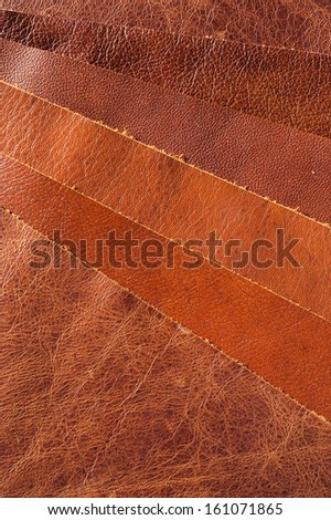 brown leather upholstery samples - stock photo