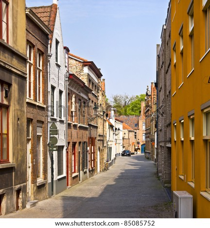 Bruges. Belgium. Classic urban environment of the medieval city. Summer urban landscape.
