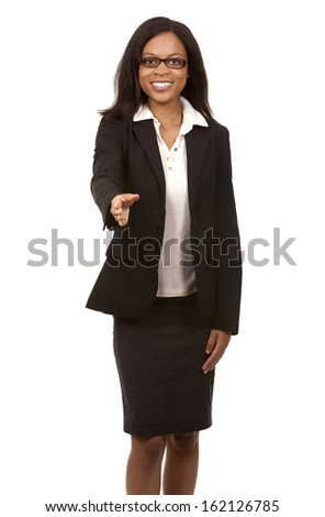 brunette wearing blue business outfit on white background