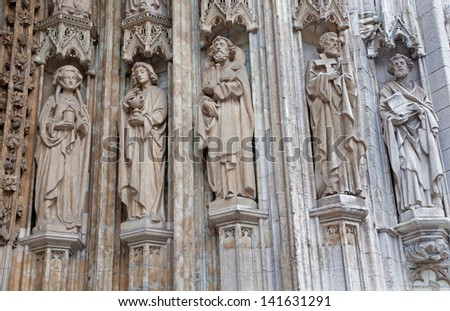 BRUSSELS - JUNE 21: Detail from main portal of Notre Dame du Sablon gothic church on June 21, 2012 in Brussels.