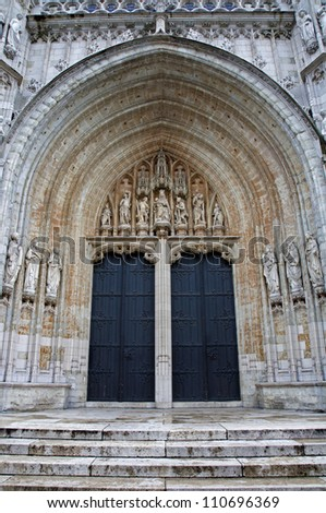 BRUSSELS - JUNE 21: South portal of Notre Dame du Sablon gothic church on June 21, 2012 in Brussels.