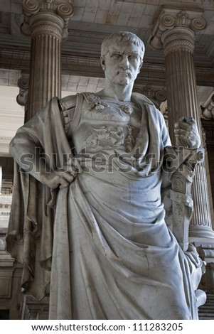 BRUSSELS - JUNE 22: Statue of ancient lawman Domitius Ulpianus from open vestiubule of Justice palace on June 22, 2012 in Brussels.