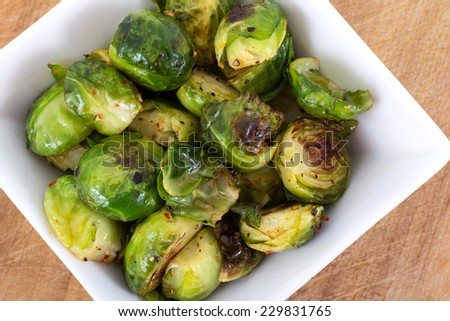 Brussels Sprouts roasted with olive oil - stock photo