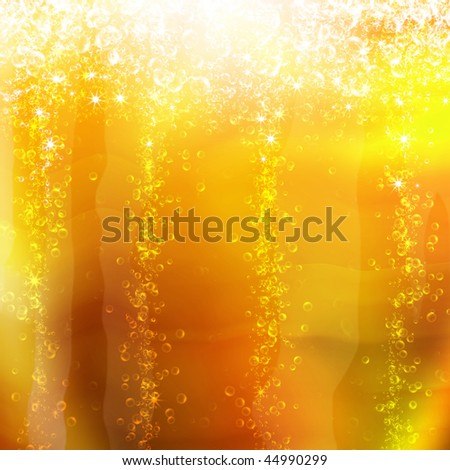 bubbles in a glass of champagne, romantic background - stock photo
