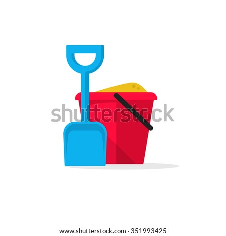 Bucket and spade with sand illustration flat icon isolated on white, kid toys tools symbol, pail shovel label, modern design sticker, sandbox place sign badge ribbon, logo concept image - stock photo
