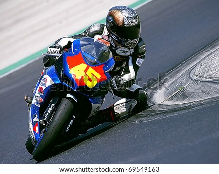 BUDAPEST, HUNGARY - APRIL 26: Alpe-Adria championship - VARGA Gergely of BR Organisation Team at main race of MotoGP in Alpe-Adria championship on April 26, 2009 in Budapest, Hungary - stock photo