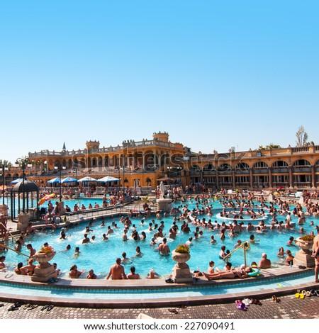 BUDAPEST, HUNGARY - JULY 8, 2013: Szechenyi thermal baths on July 8, 2013 in Budapest, Hungary - stock photo
