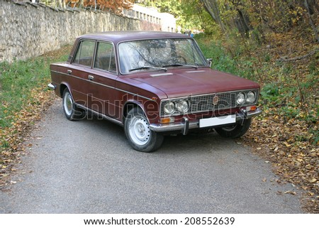 BUDAPEST HUNGARY - JULY 2, 2014: VAZ 2103 Zhiguli classic soviet vehicle at the city street. Oldtimer Lada car AutoVAZ Zhiguli from 70's - stock photo