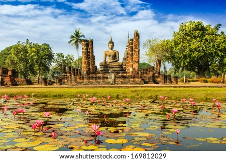Buddha Statue at Wat Mahathat in Sukhothai Historical Park,Thailand - stock photo