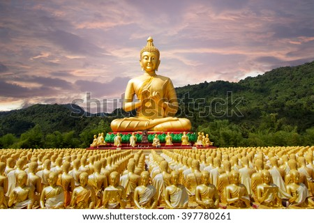 buddha statue in buddhism temple thailand - stock photo