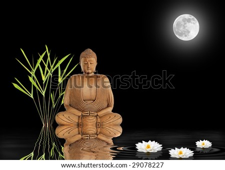 Buddha with bamboo leaf grass and white lotus lilies with reflection over rippled water. Against black background with a glowing full moon on the spring equinox. - stock photo