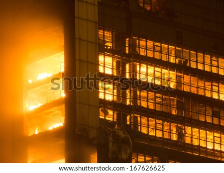 building on fire / big fires /news - stock photo