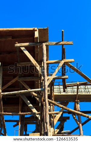 building structure with blue sky, Thailand.
