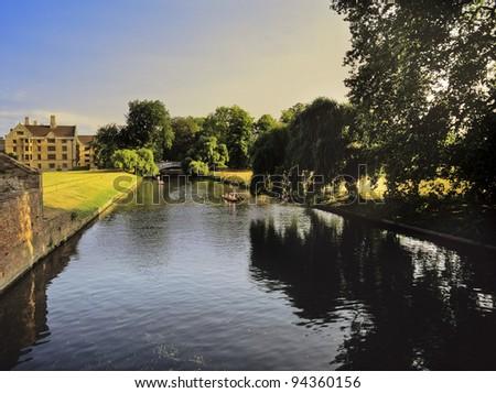 buildings of cambridge university - the river cam - stock photo