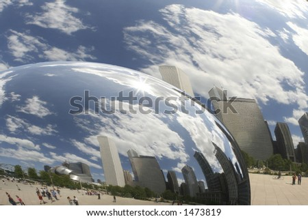 buildings Reflections inside the sphere - stock photo