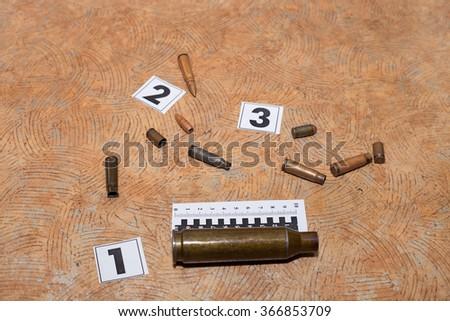 bullet at the crime scene - stock photo