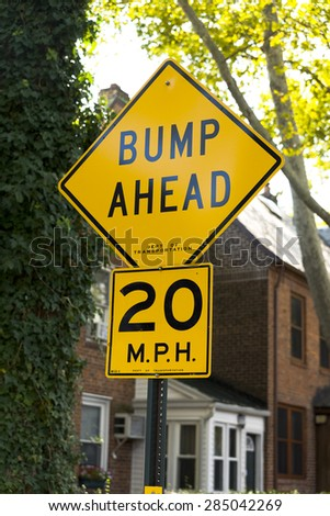"""Bumps Ahead"" road sign  - stock photo"