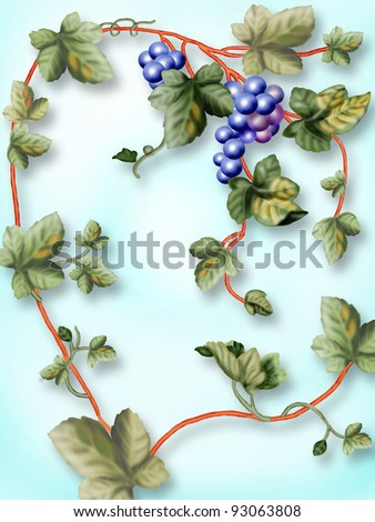 bunch of grapes on a blue background