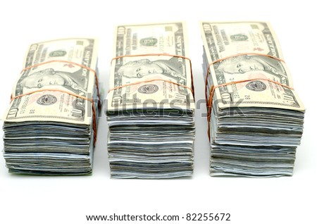 3 bundle of banknote that tight with rubber band - stock photo
