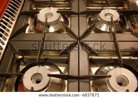 4-burner gas cook-top - stock photo