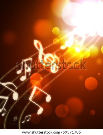 burning musical symbols on a dark background